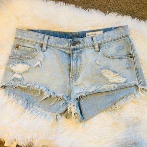 Pistola mid rise distressed jean shorts